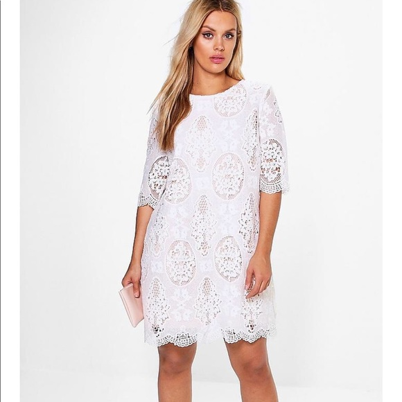 White lace shift dress plus size